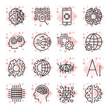 Vector icon set for artificial intelligence concept.