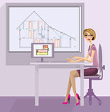 Girl architect in the workplace