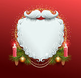 White beard of Santa Claus. Christmas greeting card template. Garland spruce branch, candle burn, golden xmas ball