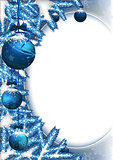 Christmas Background with Baubles and Branches