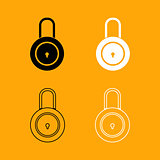 Lock black and white set icon.