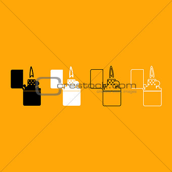 Cigarette lighter black and white set icon.