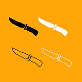 Knife of hunter black and white set icon.
