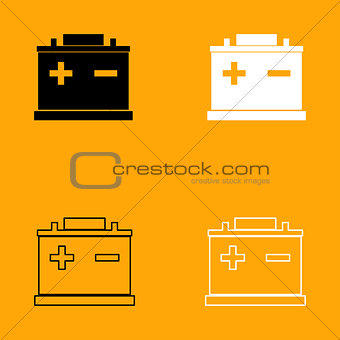 Car battery black and white set icon.