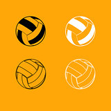 Volleyball ball black and white set icon.