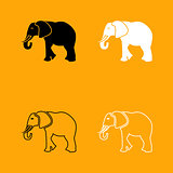 Elephant black and white set icon.