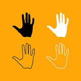 Human hand black and white set icon.