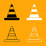 Road cone black and white set icon.