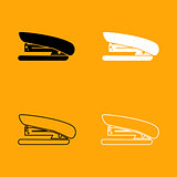 Stapler black and white set icon.