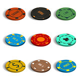 Set of different casino chips in 3D, vector illustration.