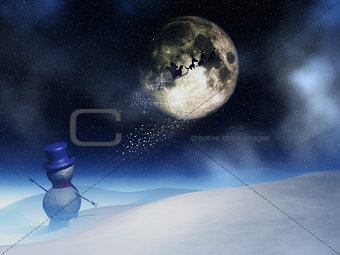 3D landscape with santa waving to Santa Claus in the night sky
