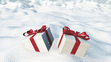 3D Christmas gifts nestled in snow