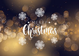 Christmas typography on bokeh lights background