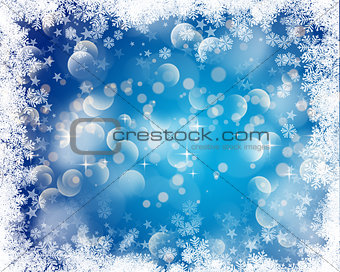 Christmas bokeh lights background with snowy border
