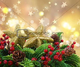 Christmas decorations on gold starry background