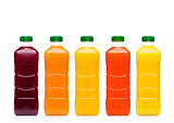 Glass bottles with fresh organic juice on white