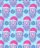 pattern with hand drawn head of Santa.