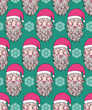pattern with hand drawn head of Santa.