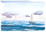 Watercolor illustration of sea with boat and sky