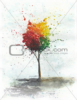 Watercolor illustration of colored tree