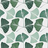 Seamless pattern with Ginkgo biloba leaves
