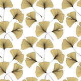 Seamless pattern with Ginkgo biloba leaves