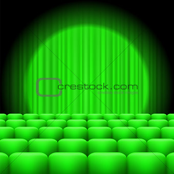 Green Curtains with Spotlight and Seats
