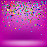 Set of Colorful Stars on Soft Pink Background
