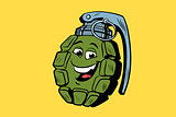grenade cute smiley face character