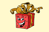 red gift box cute smiley face character