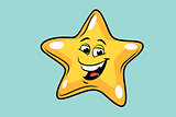 gold star cute smiley face character