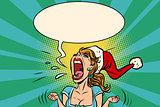 panic rage anger screaming Santa girl