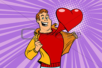 Valentine day, man in love with a red heart
