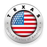 Texas Usa button steel