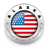 Alaska Usa flag badge button