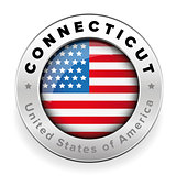 Connecticut Usa flag badge button