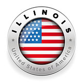Illinois Usa flag badge button