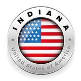 Indiana Usa flag badge button