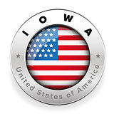 Iowa Usa flag badge button