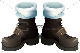 Black shoes with gold buckles. Santa Claus boots Christmas accessory