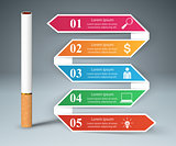 Harmful cigarette, viper, smoke, business infographics.