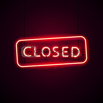 Glowing Closed Neon Sign with Glitter