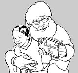 Santa Claus Hugging Little Boy