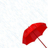 Red umbrella in the rain