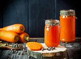 carrot juice in a glass jar
