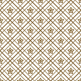 Gold and white checkered and stars seamless vector pattern.