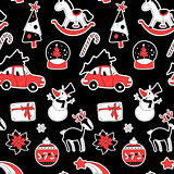 Christmas seamless pattern, xmas elements symbols