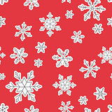 Vector Christmas seamless pattern with snowflakes.