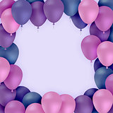 Colored balloons on purple background Vector