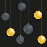 Greeting card with golden and black Christmas balls Vector